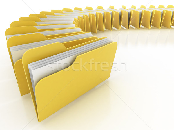 Dossiers 3d illustration beaucoup blanche ordinateur bureau Photo stock © koya79