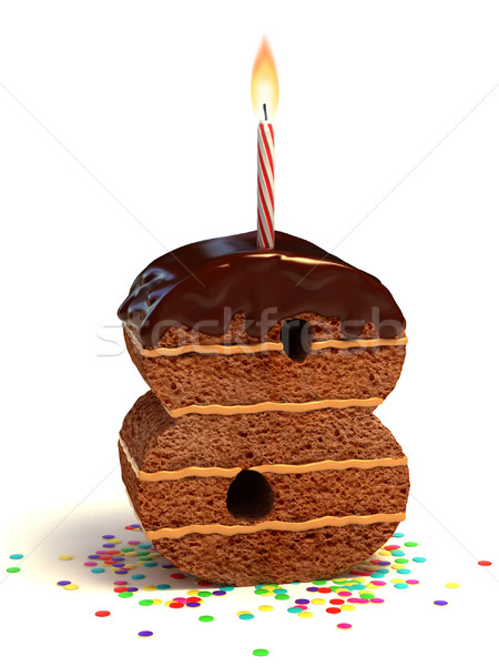 number eight shaped birthday cake Stock photo © koya79