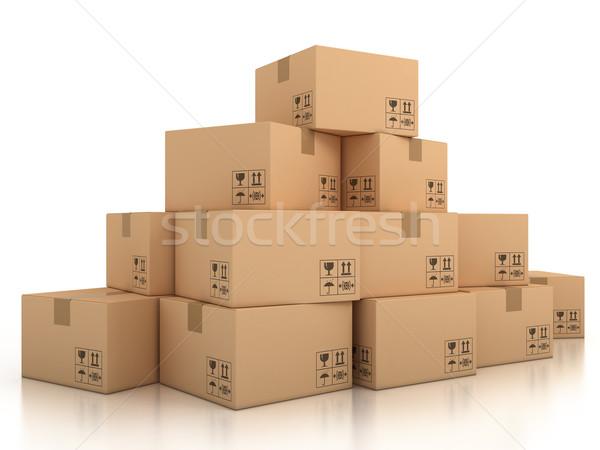 Karton kutuları 3d illustration oda tahta dengelemek Stok fotoğraf © koya79