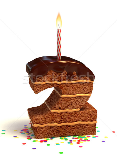 number two shaped birthday cake Stock photo © koya79