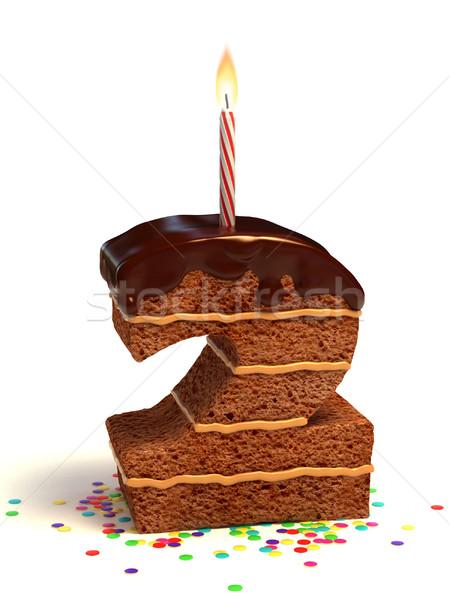 Nombre deux gâteau d'anniversaire chocolat bougie Photo stock © koya79