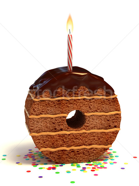 number zero shaped birthday cake Stock photo © koya79