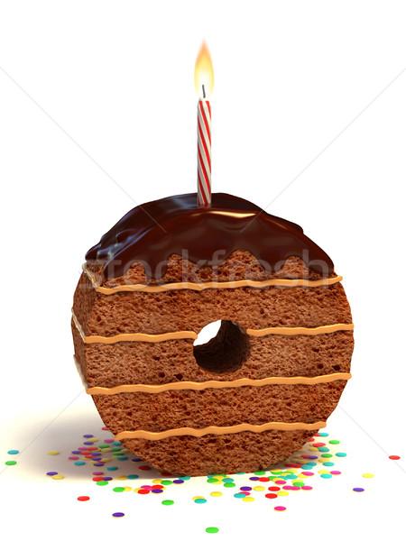 Nombre zéro gâteau d'anniversaire chocolat bougie Photo stock © koya79
