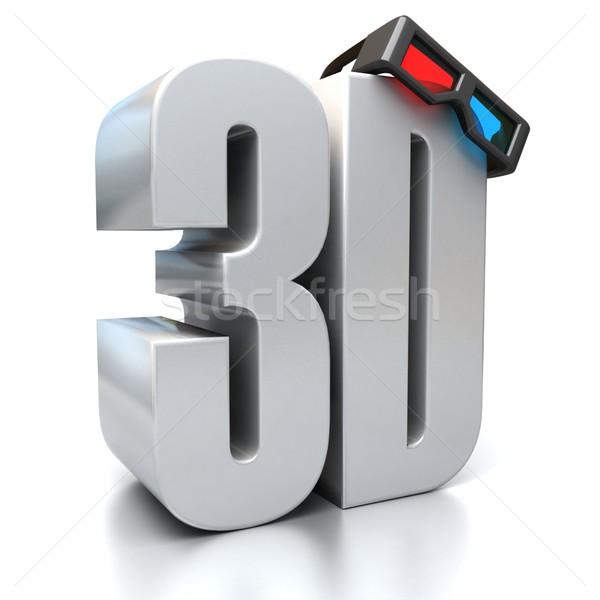 3d gözlük 3D teknoloji gözlük mektup kırmızı Stok fotoğraf © koya79