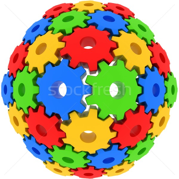colorful gears on white background Stock photo © koya79