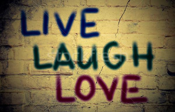 Viver rir amor fundo assinar vida Foto stock © KrasimiraNevenova