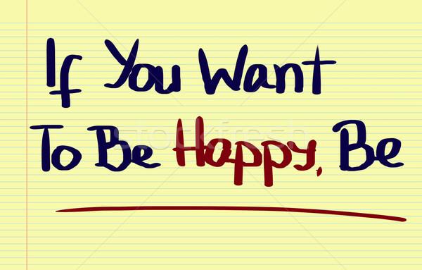 Gelukkig schrijven triest vreugde plan geluk Stockfoto © KrasimiraNevenova