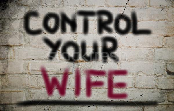 Foto stock: Controlar · esposa · fundo · comunicação · poder · feminino