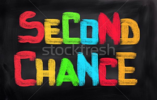 Tweede kans tijd start uitnodiging wijzend Stockfoto © KrasimiraNevenova