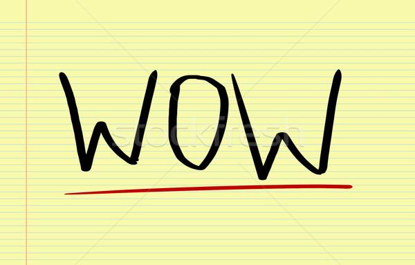 Wow podpisania dobre symbol słowo zadowolenie Zdjęcia stock © KrasimiraNevenova