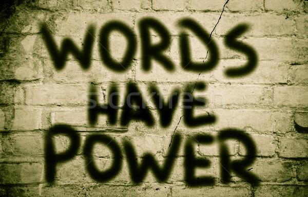 Woorden macht business onderwijs uitvoerende communicatie Stockfoto © KrasimiraNevenova