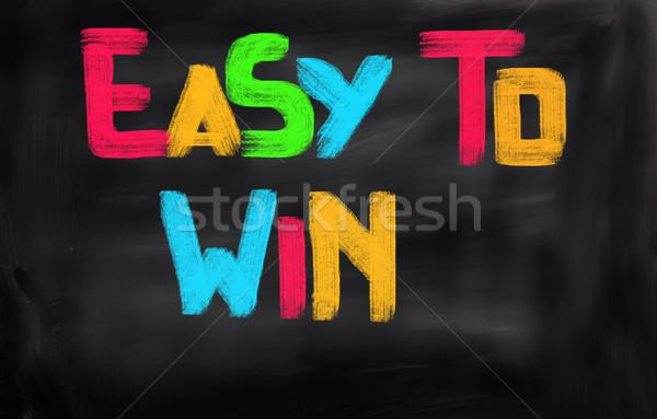 Könnyű győzelem felirat játék nyertes díj Stock fotó © KrasimiraNevenova