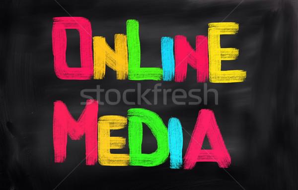 Online marketing teken web markt media schrijven Stockfoto © KrasimiraNevenova