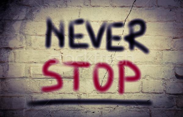 Nooit stoppen business succes leider tekst Stockfoto © KrasimiraNevenova