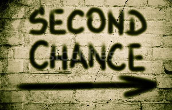 Tweede kans teken plan concept verandering Stockfoto © KrasimiraNevenova
