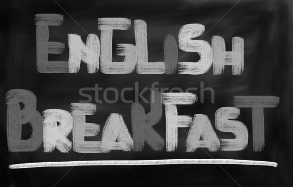 Engels ontbijt thee vlees mes vork Stockfoto © KrasimiraNevenova