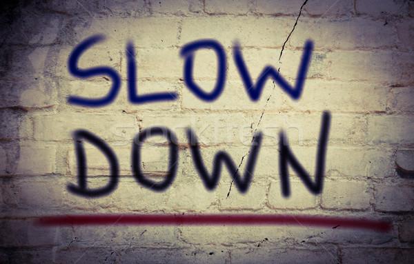 Lassú lefelé autó törvény kommunikáció forgalom Stock fotó © KrasimiraNevenova