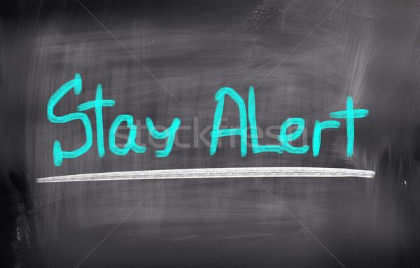 Blijven alarm achtergrond teken studie denk Stockfoto © KrasimiraNevenova