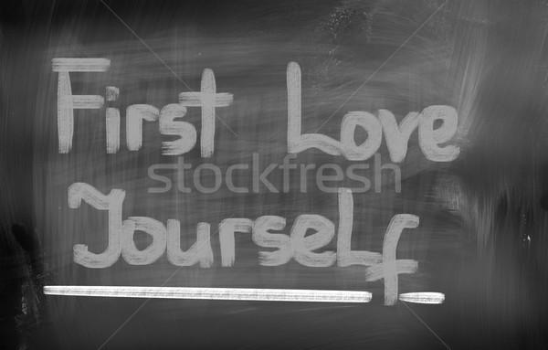 Primero amor usted mismo trabajo ejecutivo vida Foto stock © KrasimiraNevenova