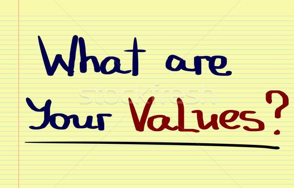 Mi értékek üzlet vállalati minőség ötlet Stock fotó © KrasimiraNevenova