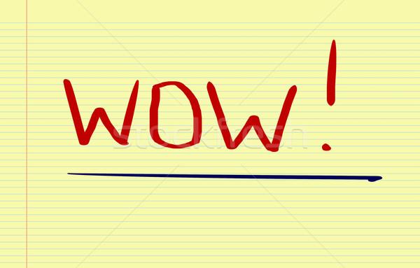 Wow assinar bom símbolo palavra satisfação Foto stock © KrasimiraNevenova