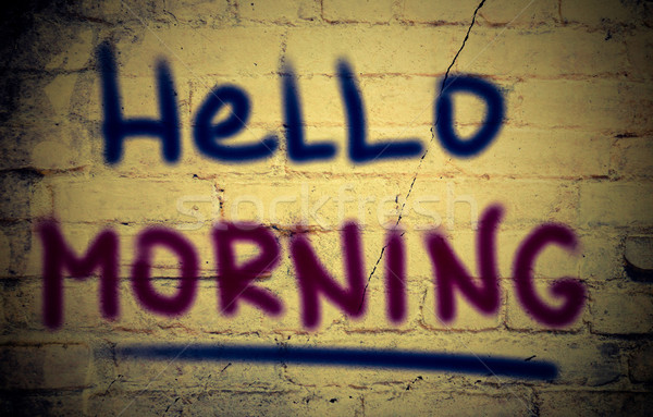Stok fotoğraf: Merhaba · sabah · mutlu · web · harfler · kavram