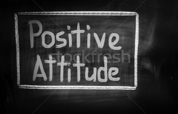 Atteggiamento positivo nero bianco lavagna bordo disegnare Foto d'archivio © KrasimiraNevenova