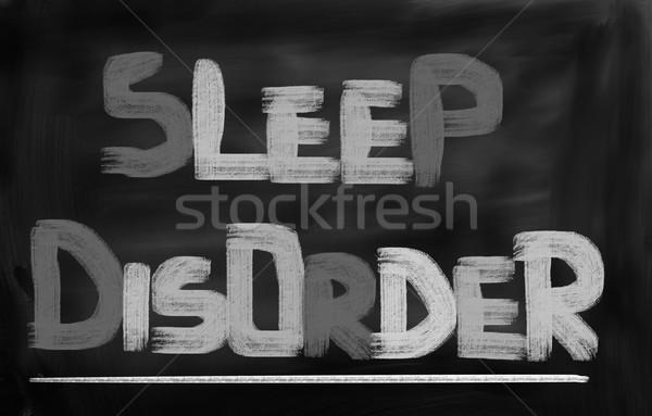 Alszik zűrzavar szemek egészség gyógyszer stressz Stock fotó © KrasimiraNevenova