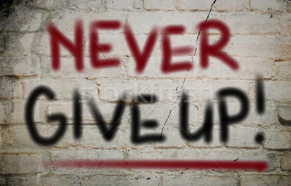 Nooit geven omhoog business achtergrond succes Stockfoto © KrasimiraNevenova