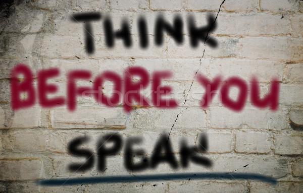 ストックフォト: と思います · 話す · 背景 · 雑誌 · 公正 · コンセプト