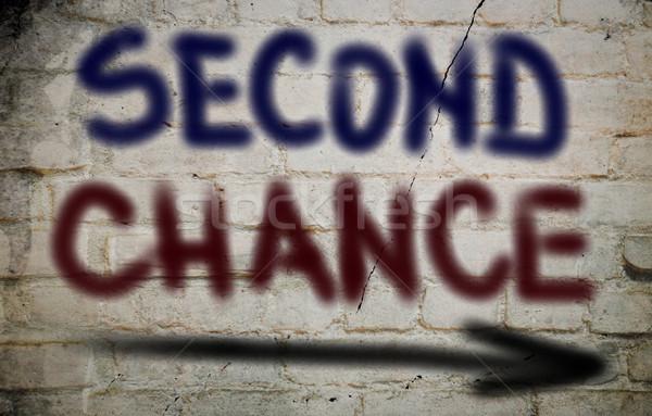Stockfoto: Tweede · kans · tijd · start · uitnodiging · wijzend