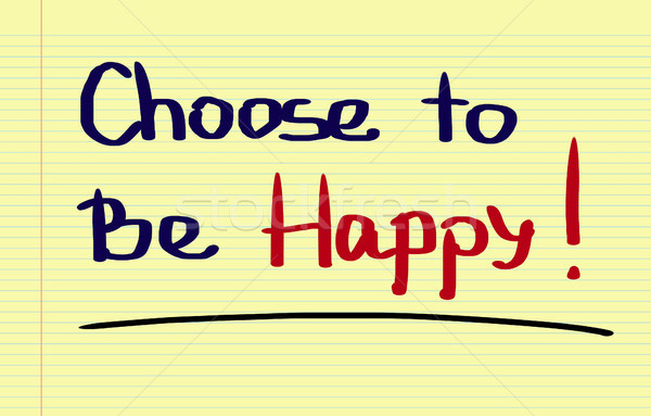 Kiezen gelukkig schrijven triest vreugde plan Stockfoto © KrasimiraNevenova