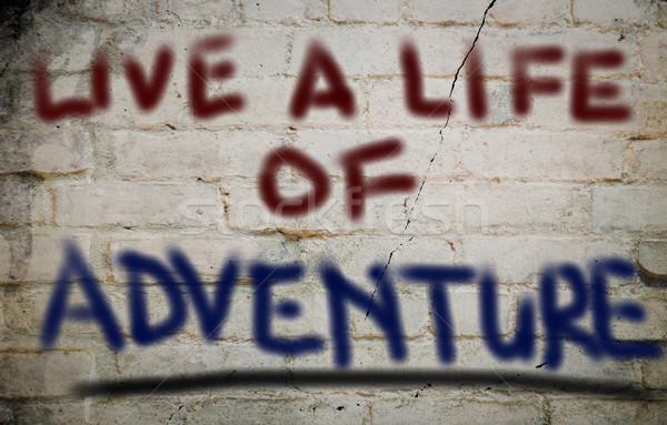 Live leven avontuur achtergrond leren woord Stockfoto © KrasimiraNevenova