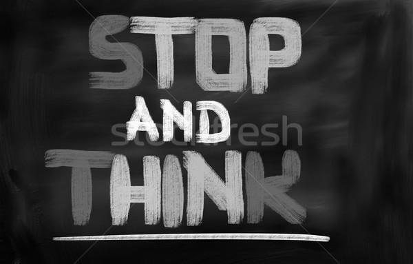 Stoppen denk onderwijs wetenschap communicatie succes Stockfoto © KrasimiraNevenova