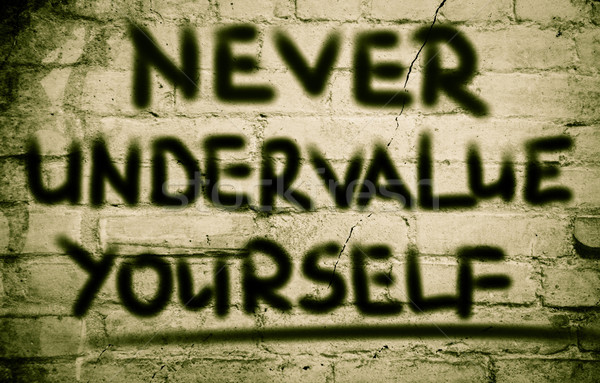 Nunca usted mismo texto stand personal carácter Foto stock © KrasimiraNevenova