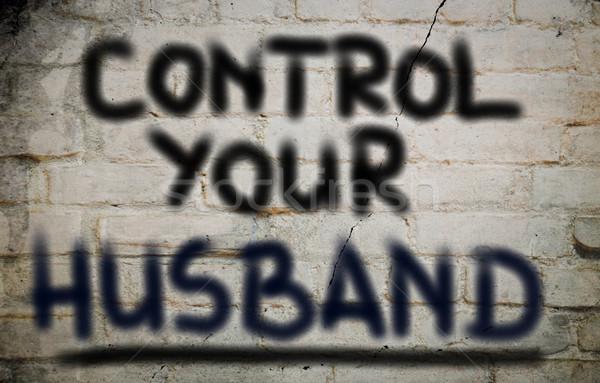 ストックフォト: 制御 · 夫 · 背景 · 通信 · 電源 · 女性