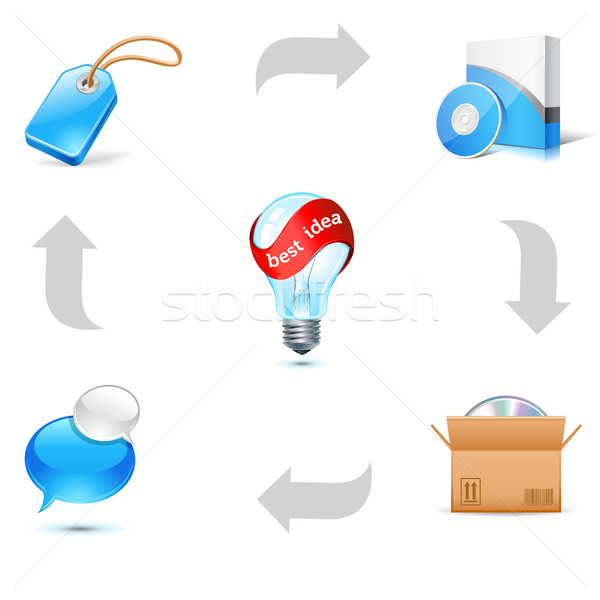 Vendite bene icone finestra rosso servizio Foto d'archivio © kraska