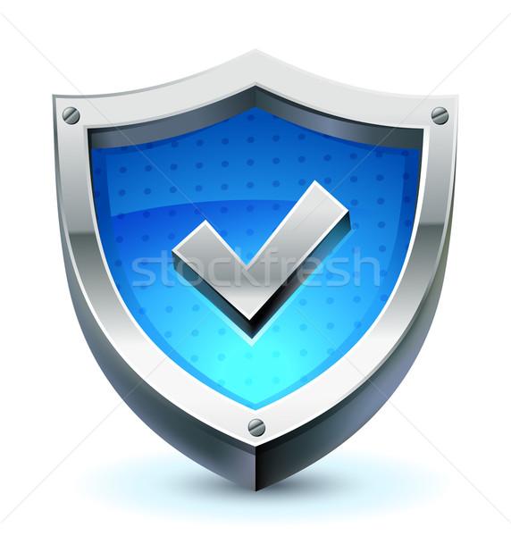 Schild bescherming icon vector controleren Stockfoto © kraska