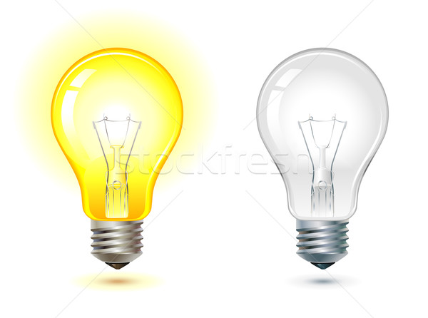 Stock photo: glowing and turned off light bulb
