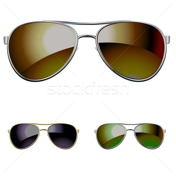 Zonnebril zon ontwerp zwarte retro donkere Stockfoto © kraska