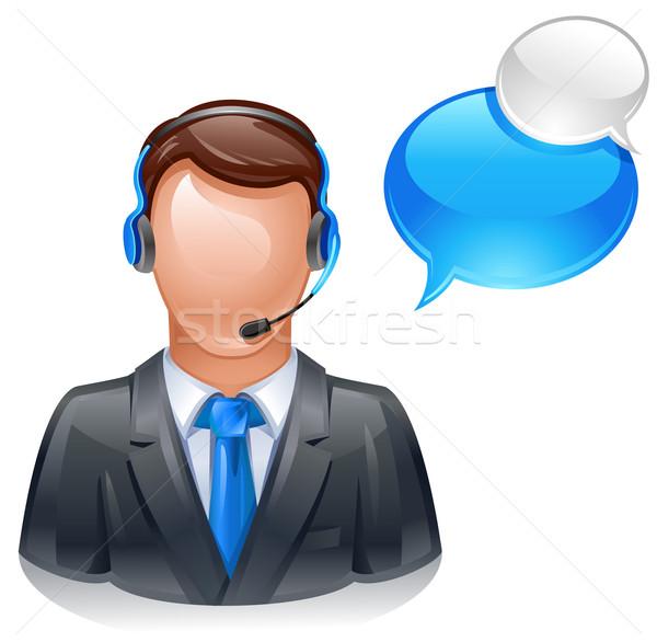 Service clients opérateur casque téléphone homme Photo stock © kraska