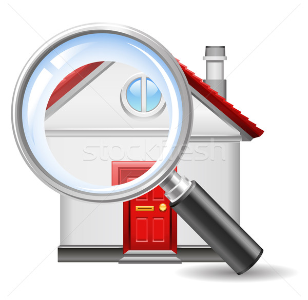 Zoek home icon huis bouw glas Stockfoto © kraska