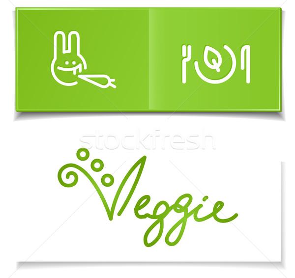 Vegetariano dieta simboli verde carta manoscritto Foto d'archivio © kraska