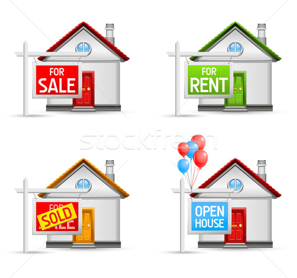real estate icons set 3 Stock photo © kraska