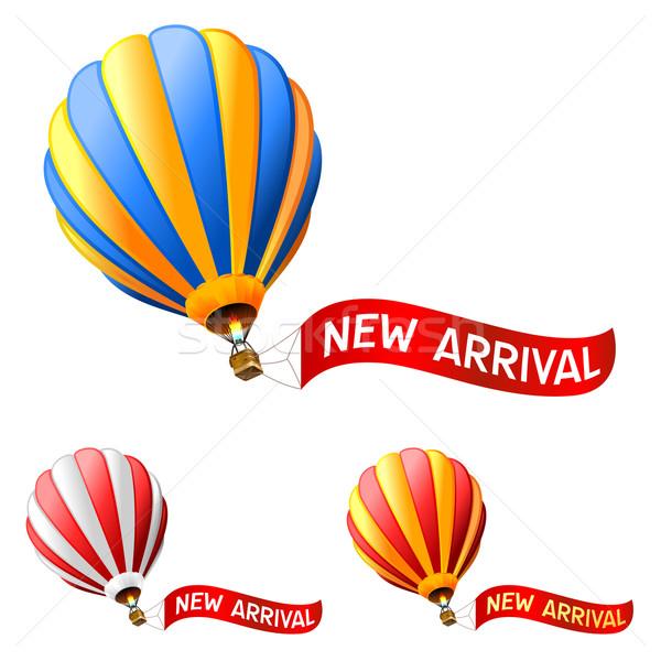 Sıcak hava balonu yeni varış imzalamak mavi bayrak Stok fotoğraf © kraska