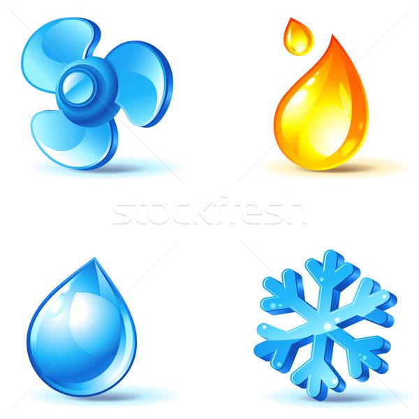 Iconen blazen koud warmte vocht water Stockfoto © kraska