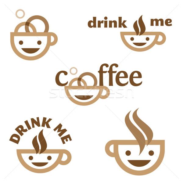 Kahve içmek bana amblem karakter Stok fotoğraf © kraska