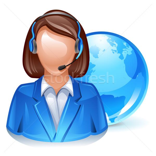 Obsługa klienta przedstawiciel globalny ikona komputera Internetu Zdjęcia stock © kraska