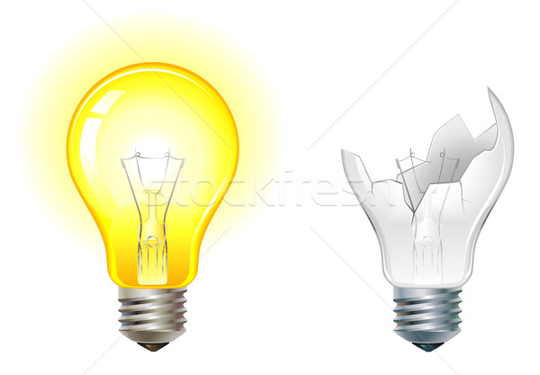glowing and broken down light bulbs Stock photo © kraska