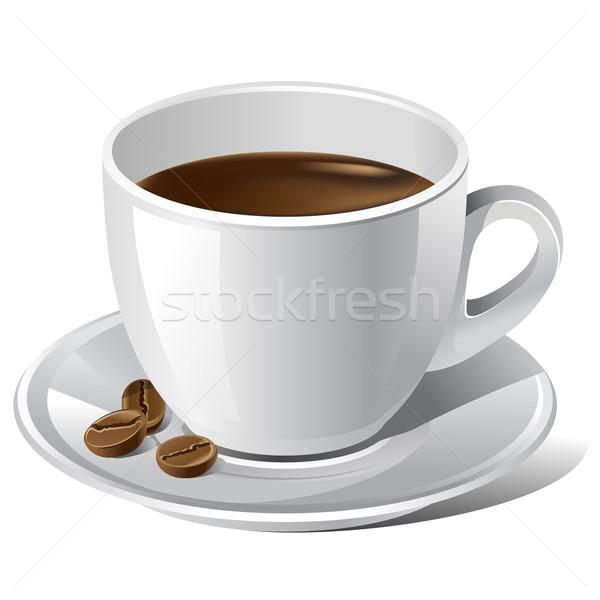 Kahve fincanı beyaz gerçekçi fasulye kahve uzay Stok fotoğraf © kraska